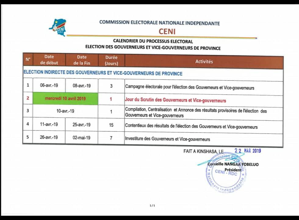 Politique-Élections des gouverneurs : La Ceni fixe la date du scrutin.