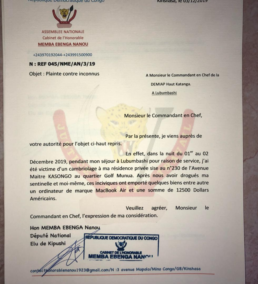 SÉCURITÉ/ Lubumbashi : L'honorable MEMBA,acteur sportif engagé, cambriolé par des inconnus…