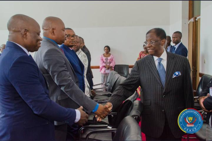 SENAT / Fonctionnement des assemblées provinciales : Alexis Thambwe Mwamba échange dessus avec les présidents des assemblées provinciales.