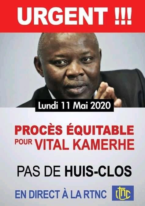Procès Kamerhe : La Dynamique CACH National demande une audience publique le 11 mai.